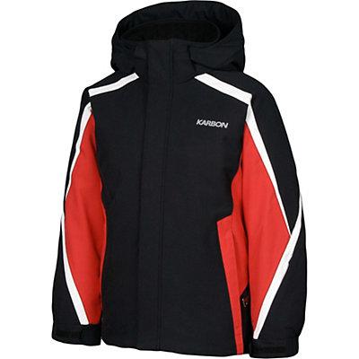Karbon Merlin Boys Ski Jacket, Black-Red-Arctic White, viewer
