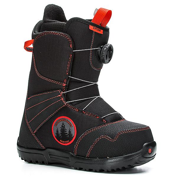 Burton Zipline Boa Kids Snowboard Boots, Black-Red, 600