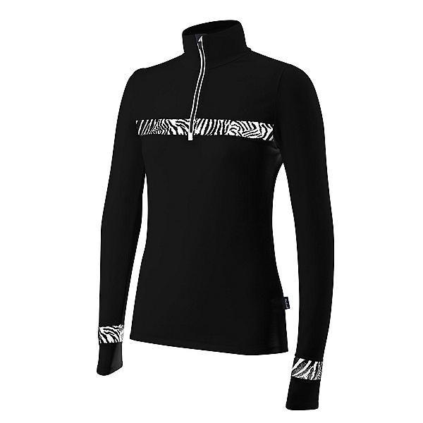 Newland Ada Half Zip Womens Long Underwear Top, Black-White, 600