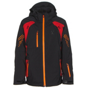 Spyder Vail Boys Ski Jacket, Black-Rage-Bryte Orange, medium