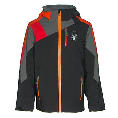 Spyder Avenger Boys Ski Jacket, Black-Red-Rage, viewer