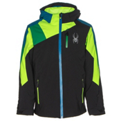 Spyder Avenger Boys Ski Jacket, Black-Bryte Green-Jungle, medium