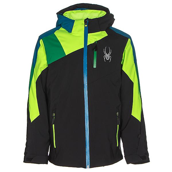 Spyder Avenger Boys Ski Jacket, Black-Bryte Green-Jungle, 600
