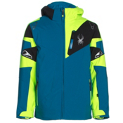 Spyder Leader Boys Ski Jacket, Concept Blue-Bryte Green-Black, medium