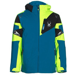 Spyder Leader Boys Ski Jacket, Concept Blue-Bryte Green-Black, 256