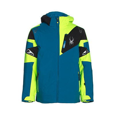 Spyder Leader Boys Ski Jacket, Concept Blue-Bryte Green-Black, viewer