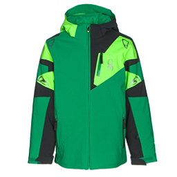 Spyder Leader Boys Ski Jacket, Jungle-Black-Bryte Green, 256