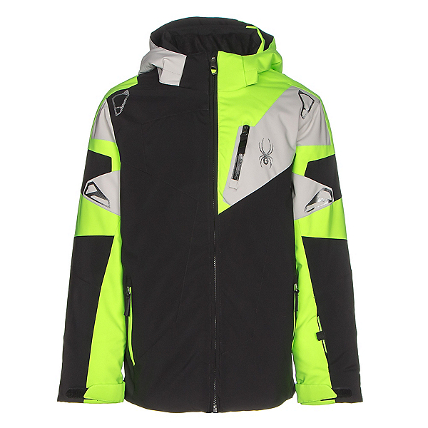 Spyder Leader Boys Ski Jacket (Previous Season), Black-Bryte Green-Cirrus, 600
