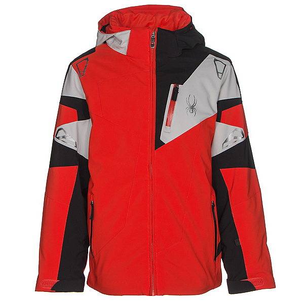 Spyder Leader Boys Ski Jacket (Previous Season), Rage-Black-Cirrus, 600