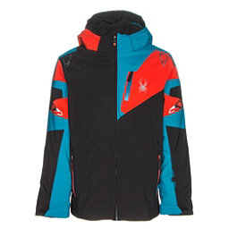 Spyder Leader Boys Ski Jacket, Black-Electric Blue-Rage, 256