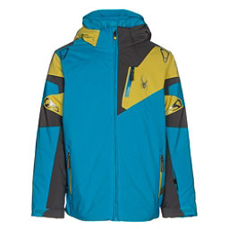 Spyder Leader Boys Ski Jacket, Electric Blue-Polar-Sulfur, 256