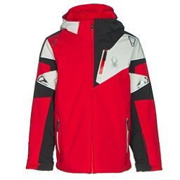 Spyder Leader Boys Ski Jacket, Red-Black-Cirrus, 256