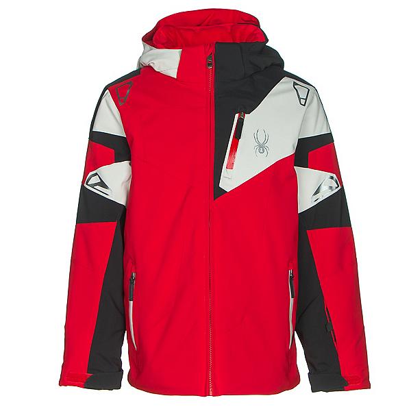 Spyder Leader Boys Ski Jacket, Red-Black-Cirrus, 600