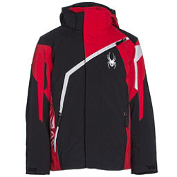 Spyder Challenger Boys Ski Jacket (Previous Season), Black-Red-Cirrus, 256