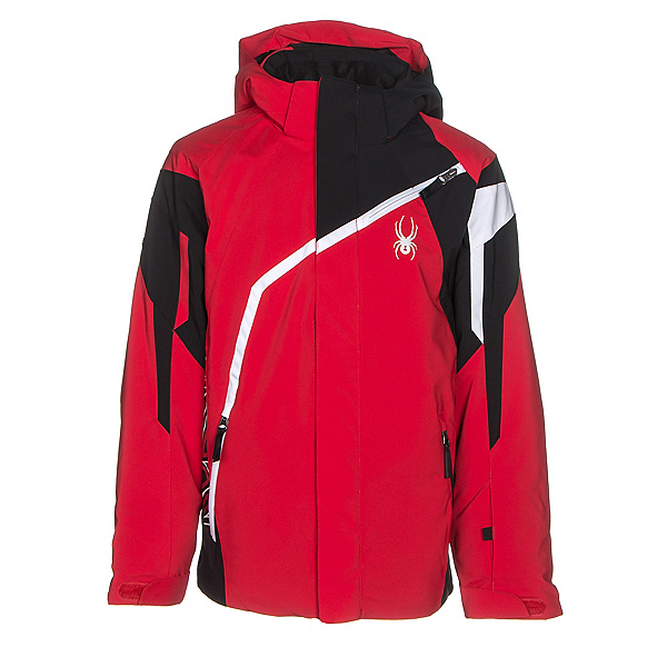 Spyder Challenger Boys Ski Jacket, Red-Black-White, 600