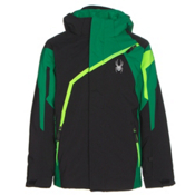 Spyder Challenger Boys Ski Jacket, Black-Jungle-Bryte Green, medium