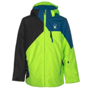 Spyder Ambush Boys Ski Jacket, Bryte Green-Black-Concept Blue, medium