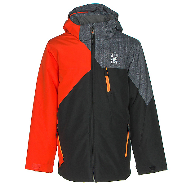 Spyder Ambush Boys Ski Jacket, Black-Rage-Herringbone Polar P, 600