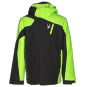 Spyder Guard Boys Ski Jacket, Black-Bryte Green-Black, medium
