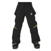 Spyder Force Kids Ski Pants, Black-Bryte Green, medium