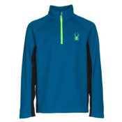 Spyder Outbound Mid Weight Kids Sweater, Concept Blue-Bryte Green, medium