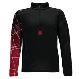 Spyder Linear WEB Dry T-Neck Kids Midlayer, Black-Red, 256