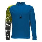 Spyder Linear WEB Dry T-Neck Kids Midlayer, Concept Blue-Bryte Green, medium