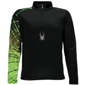 Spyder Linear WEB Dry T-Neck Kids Midlayer, Black-Bryte Green, medium