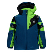 Spyder Mini Leader Toddler Ski Jacket, Concept Blue-Bryte Green-Black, medium