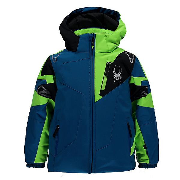 Spyder Mini Leader Toddler Ski Jacket, Concept Blue-Bryte Green-Black, 600