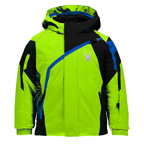 Spyder Mini Challenger Toddler Ski Jacket, Bryte Green-Black-Concept Blue, 600