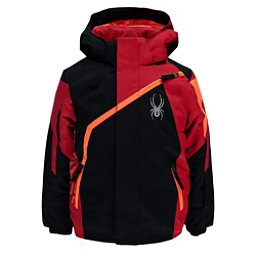 Spyder Mini Challenger Toddler Ski Jacket, Black-Red-Bryte Orange, 256
