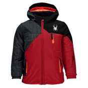 Spyder Mini Ambush Toddler Ski Jacket, Red-Herringbone Polar Print-Black, medium
