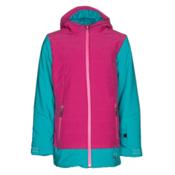 Spyder Moxie Girls Ski Jacket, Bluebird-Voila-Bryte Bubblegum, medium