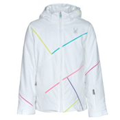 Spyder Tresh Girls Ski Jacket, White-Bluebird-Multi Color, medium