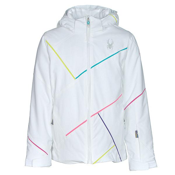 Spyder Tresh Girls Ski Jacket, White-Bluebird-Multi Color, 600