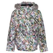 Spyder Lola Girls Ski Jacket, Kaleidoscope White Print-Black, medium