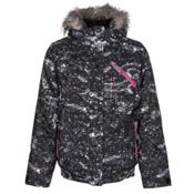 Spyder Lola Girls Ski Jacket, Sequins Black Print-Bryte Bubblegum, medium