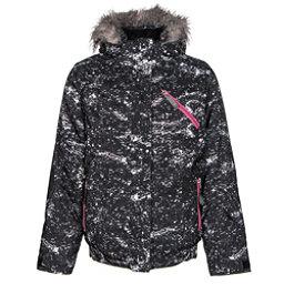 Spyder Lola Girls Ski Jacket, Sequins Black Print-Bryte Bubblegum, 256