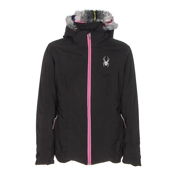 Spyder Eve Girls Ski Jacket, Black-Bryte Bubblegum, 600