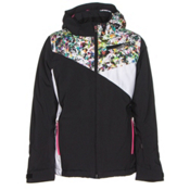 Spyder Project Girls Ski Jacket, Black-Kaleidoscope White Print, medium