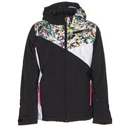 Spyder Project Girls Ski Jacket, Black-Kaleidoscope White Print, 256