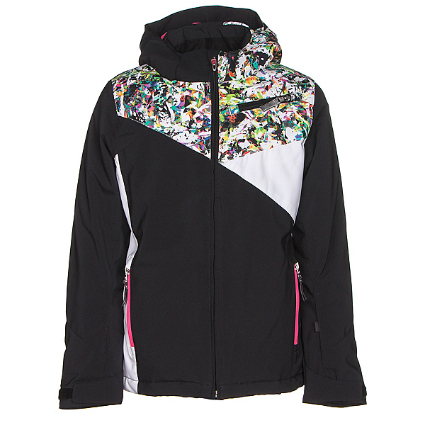 Spyder Project Girls Ski Jacket, Black-Kaleidoscope White Print, 600