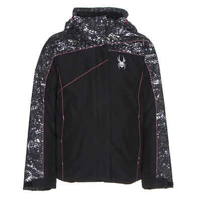 Spyder Dreamer Girls Ski Jacket, Black-Sequins Black Print-Bryt, viewer