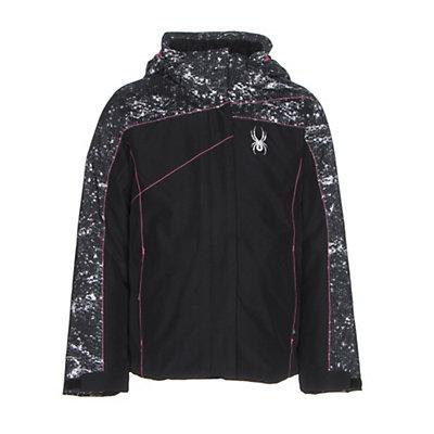 Spyder Dreamer Girls Ski Jacket, Black-Sequins Black Print-Bryt, viewer
