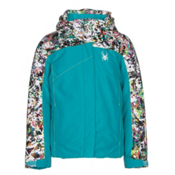 Spyder Dreamer Girls Ski Jacket, Bluebird-Kaleidoscope Print-Ac, medium
