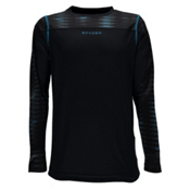 Spyder Havoc Long Sleeve Tech Kids Long Underwear Top, Black-Space Armor El Blue Prin, medium