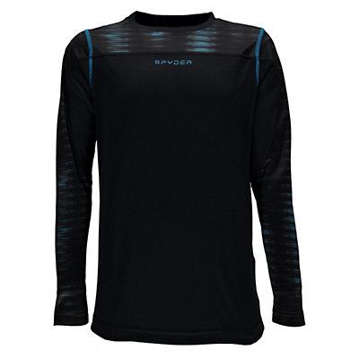 Spyder Havoc Long Sleeve Tech Kids Long Underwear Top, Black-Space Armor El Blue Prin, viewer