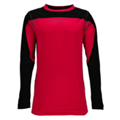 Spyder Havoc Long Sleeve Tech Kids Long Underwear Top, Red-Black, medium