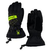 Spyder Overweb Kids Gloves, Black-Bryte Green, medium